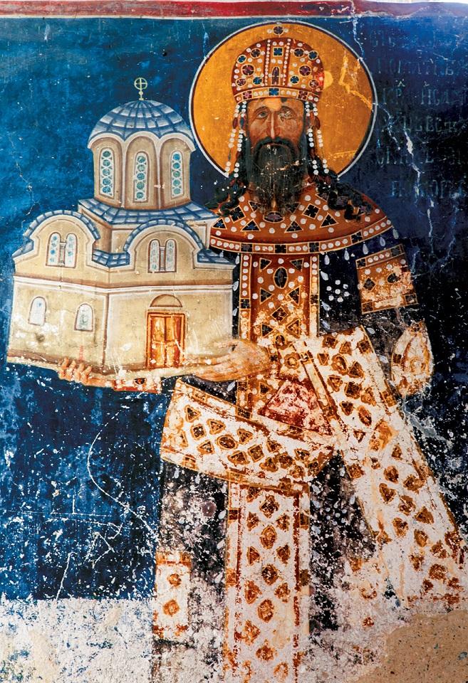 Serbski władca Milutin ufundował Królewską Cerkiew w klasztorze Studenica w 1314 r. Wewnątrz zachowało się przedstawiające go malowidło